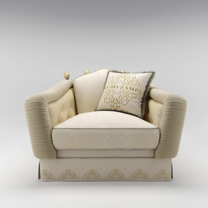 3ds max bruno zampa achille armchair