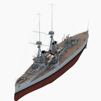3d dreadnought battleship bellerophon class model