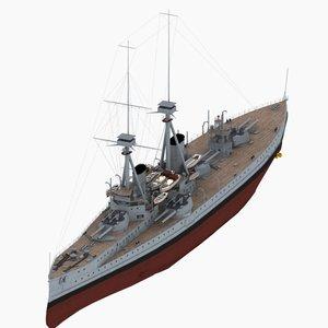 3d dreadnought battleship bellerophon class model