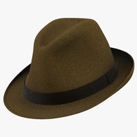 fedora hat brown 3d model