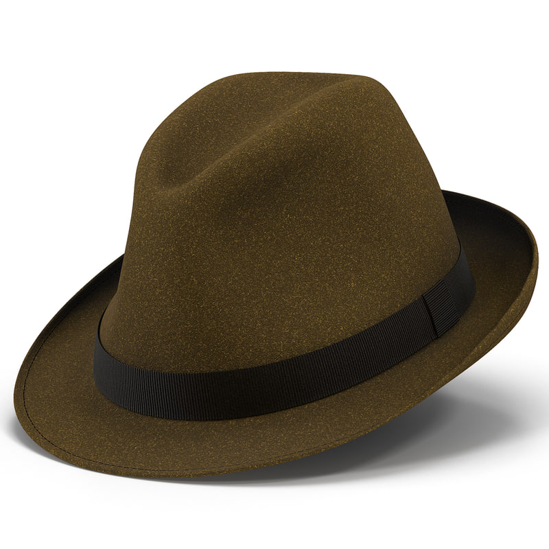 fedora hat brown 3d model
