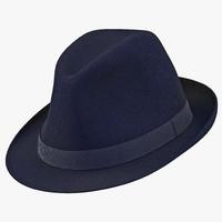 3d fedora hat blue model