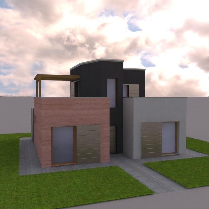 3d modern villa model for Model villa moderne