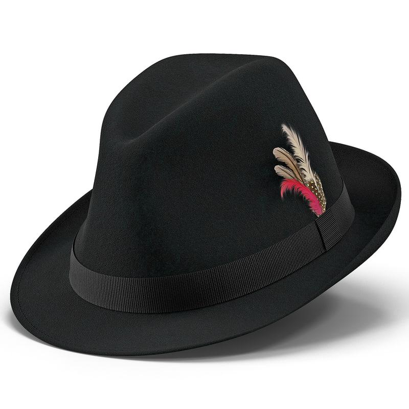 3d model fedora hat 2