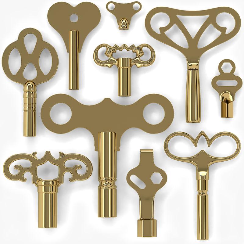 clock keys 10 obj