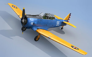 north american t6 texan 3d obj