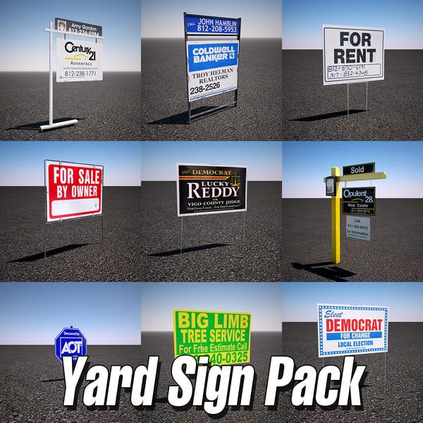 yard sign pack 3d model