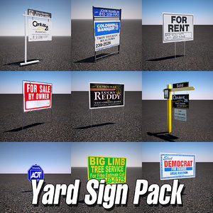 yard sign pack 3d model