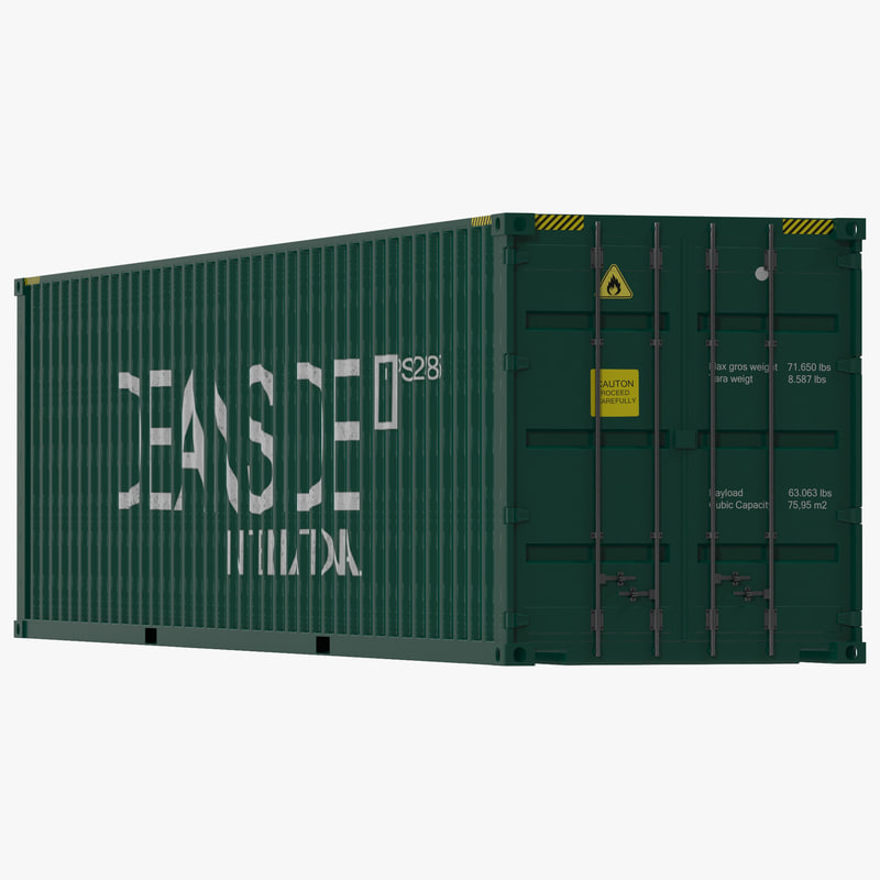 40 ft container green c4d