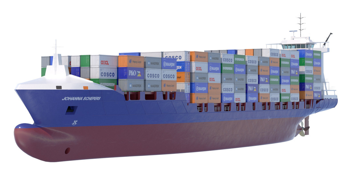 140 m container ship 3d 3ds