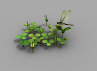 maya realistic small plants ants