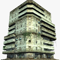 3d apartment building abandoned model