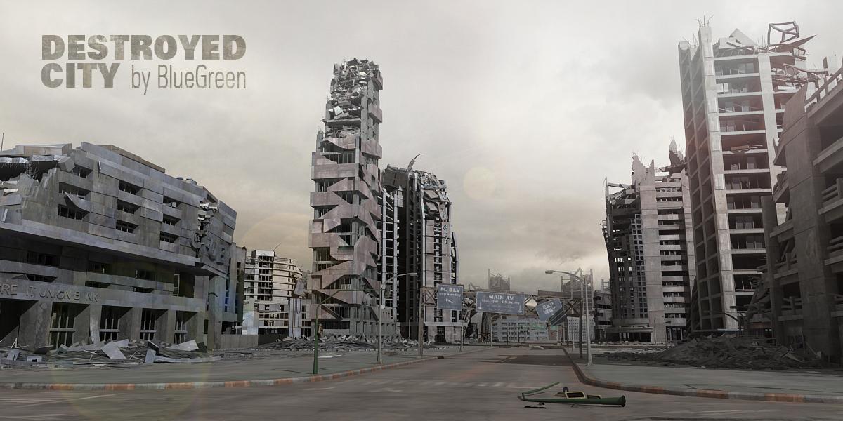 3d destroyed city model