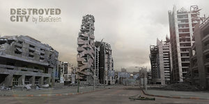 3d destroyed city model
