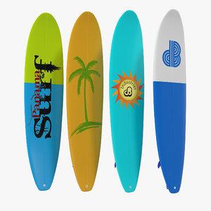 surfboard longboard set modeled 3d model