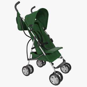 baby stroller green modeled 3d c4d