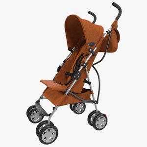 3d baby stroller orange modeled