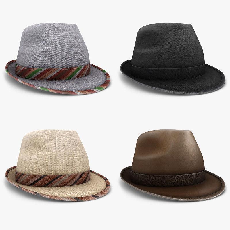 3d model fedora hat set