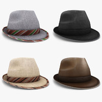 3d model fedora hat set