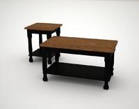 3d model farmhouse coffee table end