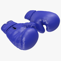 Boxing Gloves Blue 3D Model