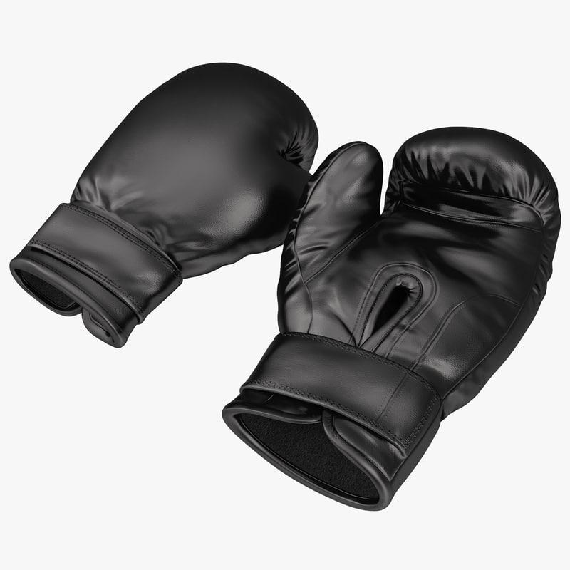 3d boxing gloves black