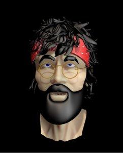 hippie man guy 3d 3ds