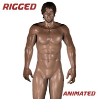 3d model rigged muscular male
