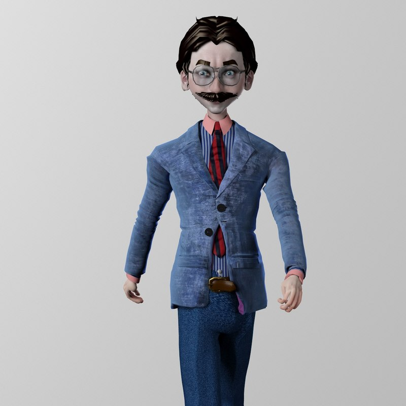 rigged cartoon businessman 3d 3ds