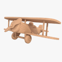 3d unfinished wooden airplane toy model