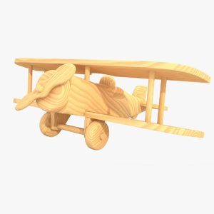 3ds max unfinished wooden airplane toy
