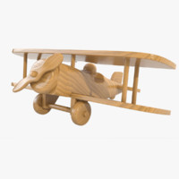 3d model varnished wooden airplane toy