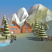 Cartoon Landscape Low Poly