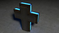 free c4d model glowing metal cross
