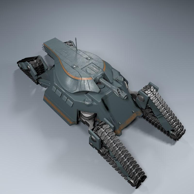 sci-fi tank c4d