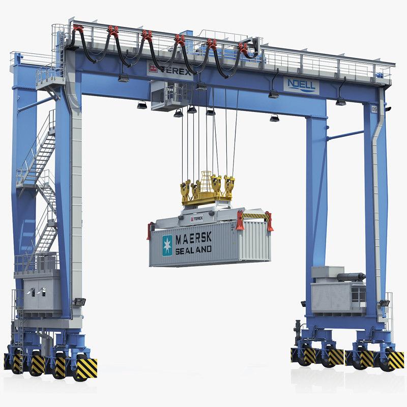 3d rubber-tyred gantry crane terex