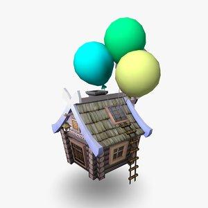 flying hut cartoon house 3d model