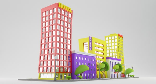 city street cartoon 3d obj