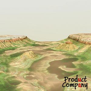 hills cliffs terrain 3d obj