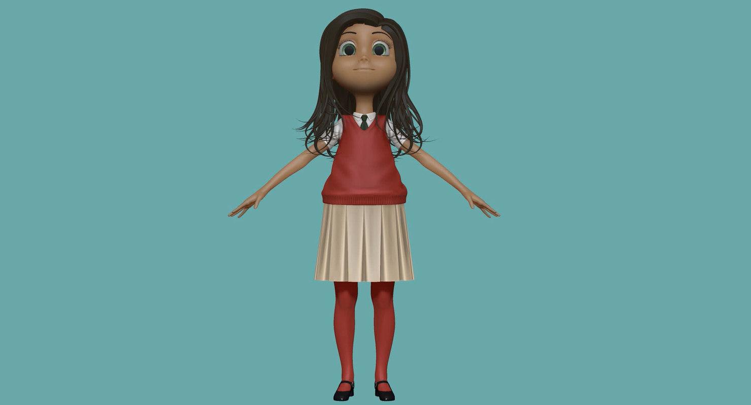 Cartoon Girl Student H1O3 Sculpt