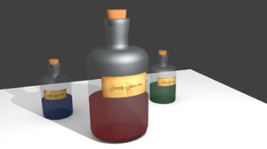 free obj model potion bottles