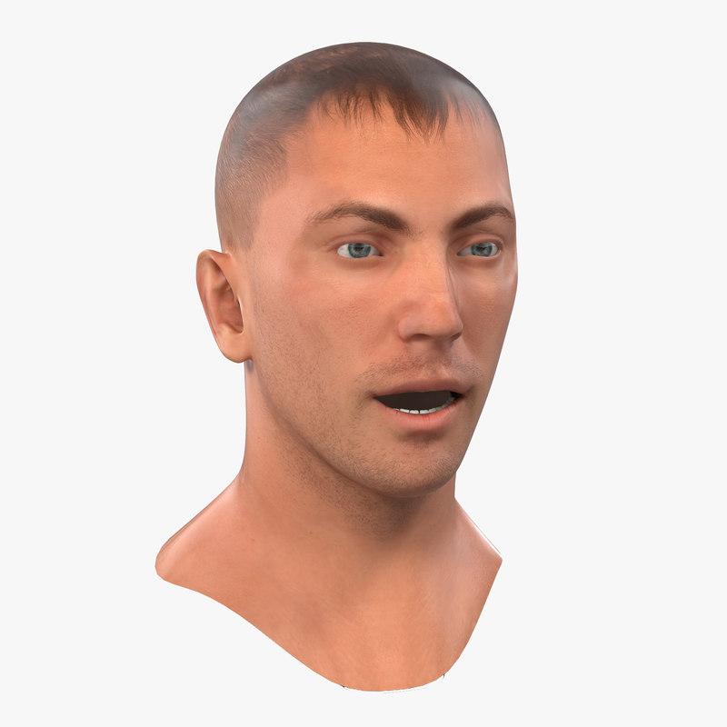 caucasian male head rigged 3d max