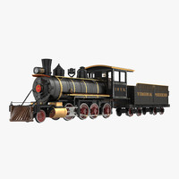 Steam Train with Wagon 4 3D Model