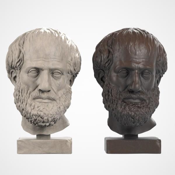 head sculpture aristoteles 3d max