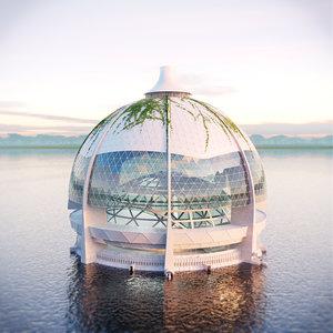 3d dome building concrete model