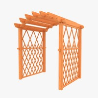 3d model wooden archway wood
