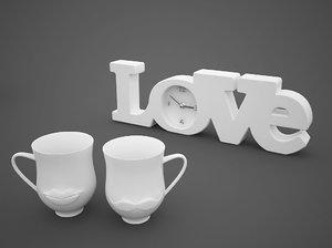 free clock love cups mustache 3d model