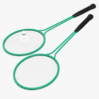 Badminton Racket 2 and Shuttlecock 3D Models