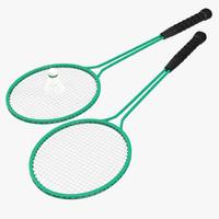 badminton racket 2 shuttlecock 3ds