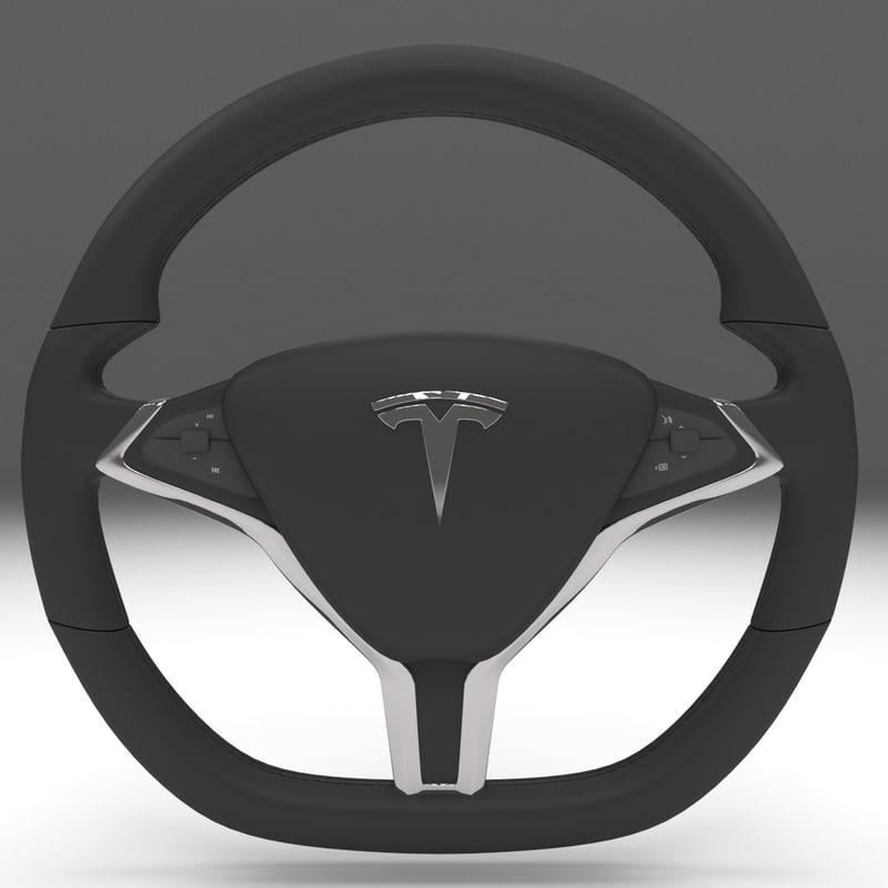 3d model tesla s steering wheel